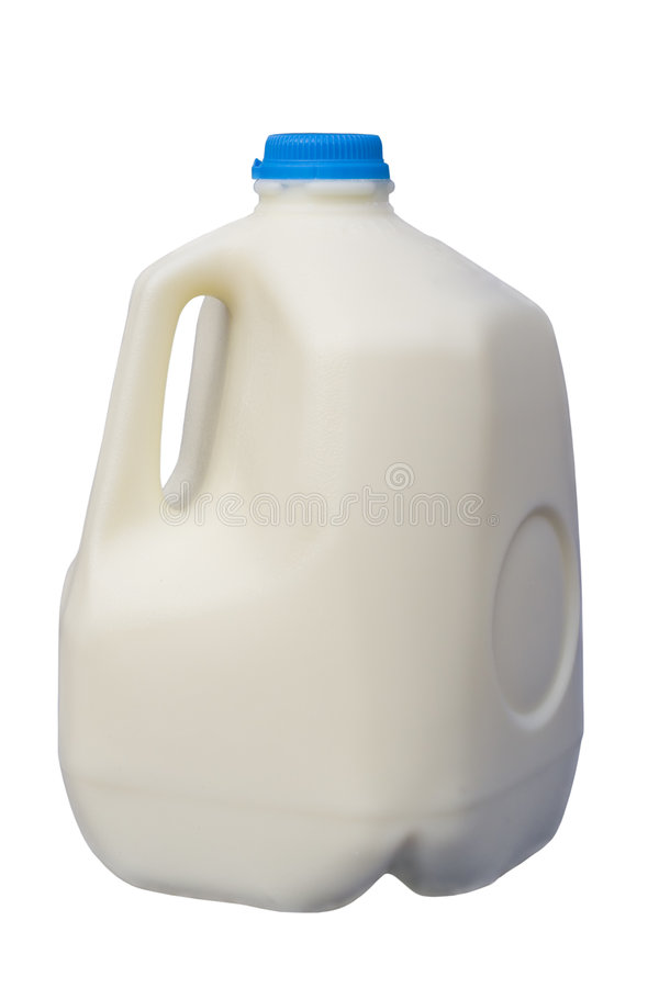 Airtight One Gallon Milk Jug with a Blue Cap On stock images