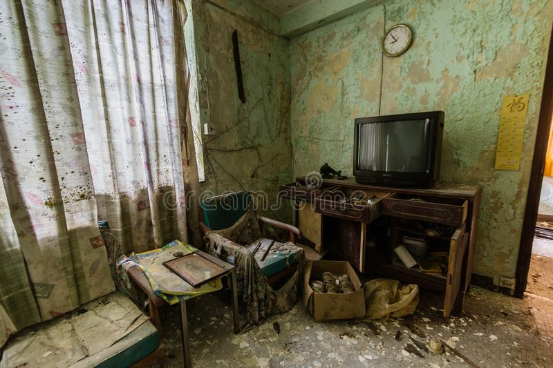 The interior of the abandoned house in Ma Wan village, Hong Kong stock image