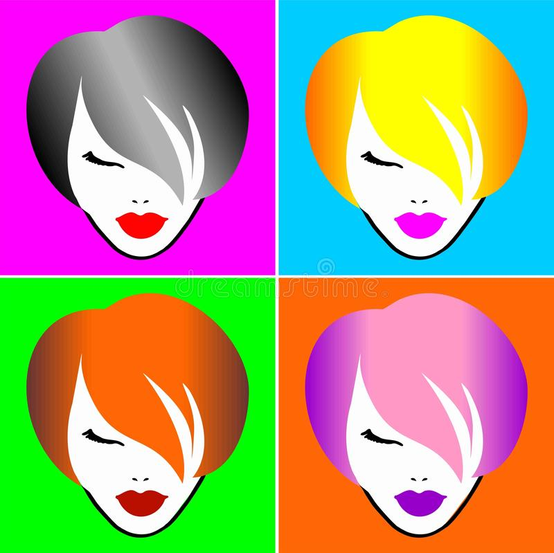 One girl-4 hair colors. Abstract image vector illustration