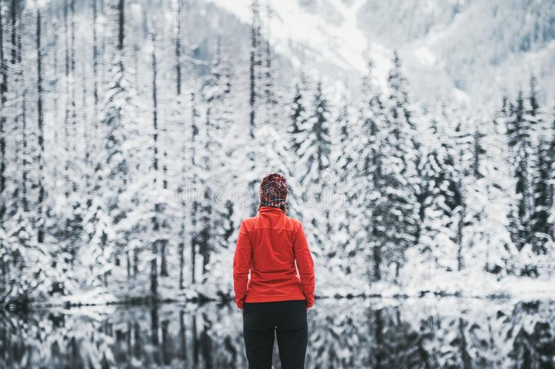 One girl hiker stands in front of a winter lake looking to the snowy landscape. Rear view royalty free stock images