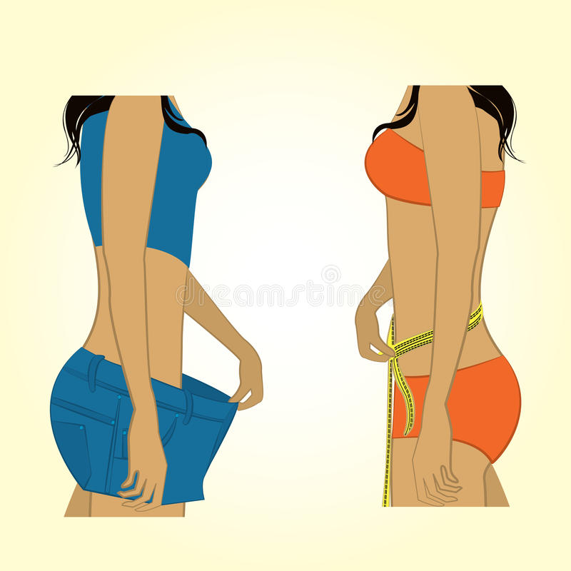 One girl measuring herself measuring tape, the other girl bulge. Shorts that became big royalty free illustration