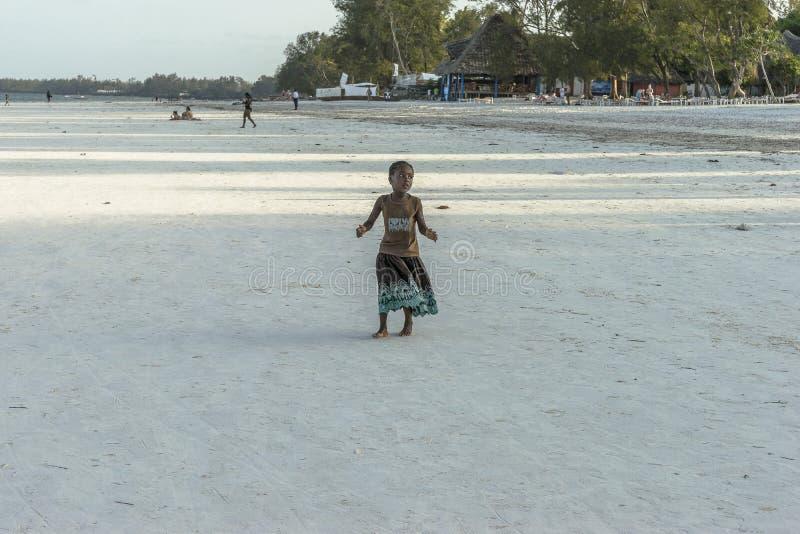 One girl on Zanzibar beach stock image
