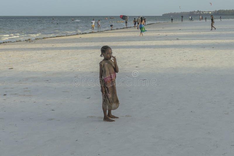 One girl on Zanzibar beach royalty free stock photos
