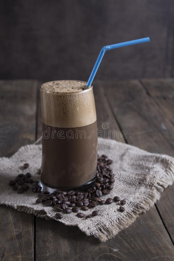 One glass of a Greek frappe stock photography