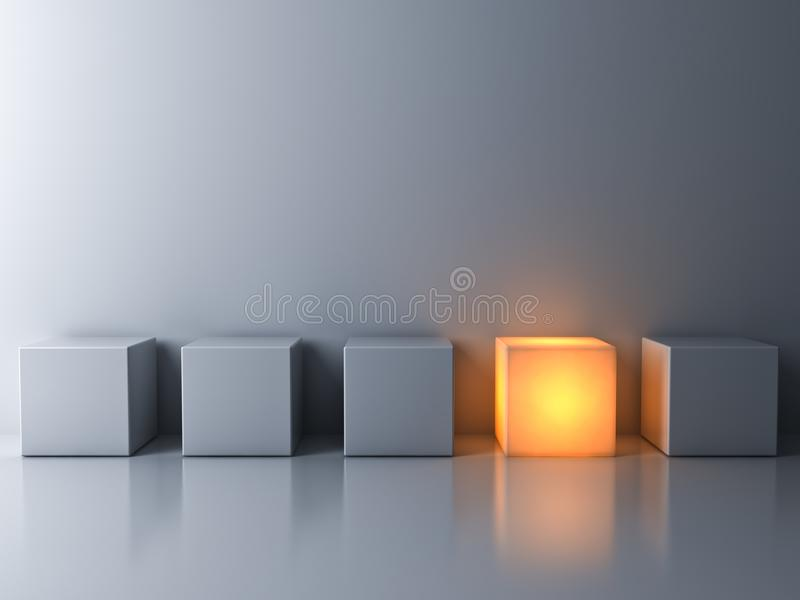 One glowing box or cube standing among white dim cubes on dark white background. Stand out from the crowd and think different concepts , One glowing box or cube royalty free stock photo