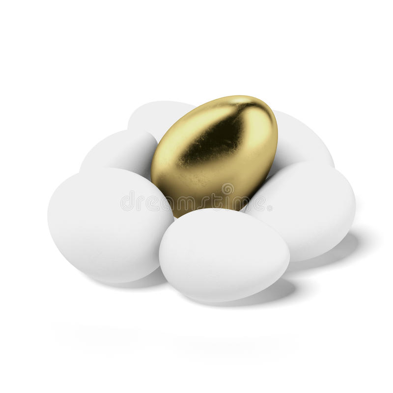 One gold egg lays among common white eggs. Isolated on a white background vector illustration