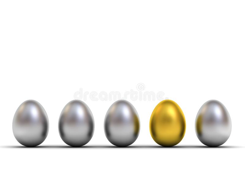 One gold egg standing out from the metallic silver eggs leadership and different creative idea the business concepts royalty free illustration
