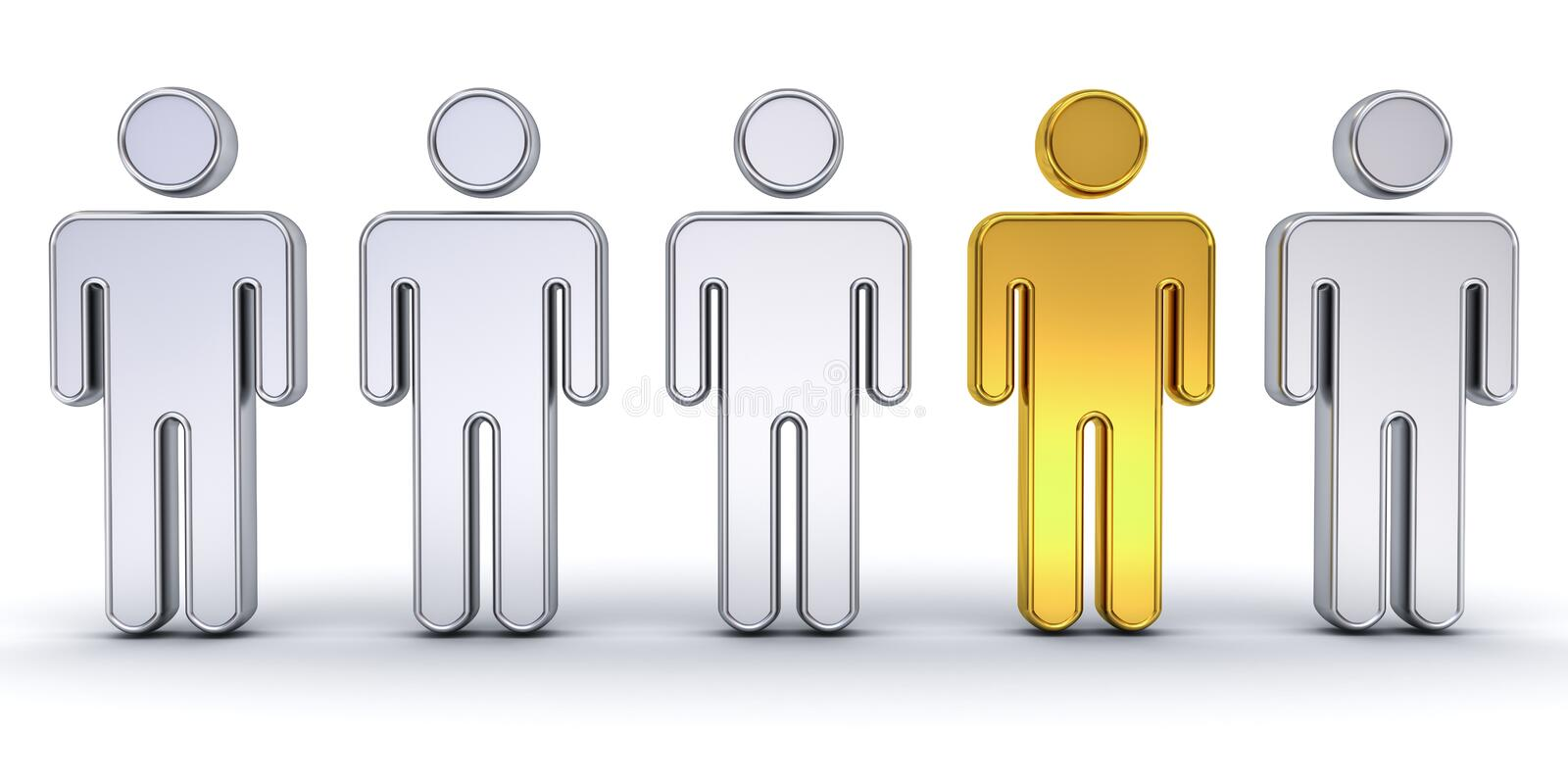 One gold man standing out from the crowd , individuality and different creative idea concept vector illustration