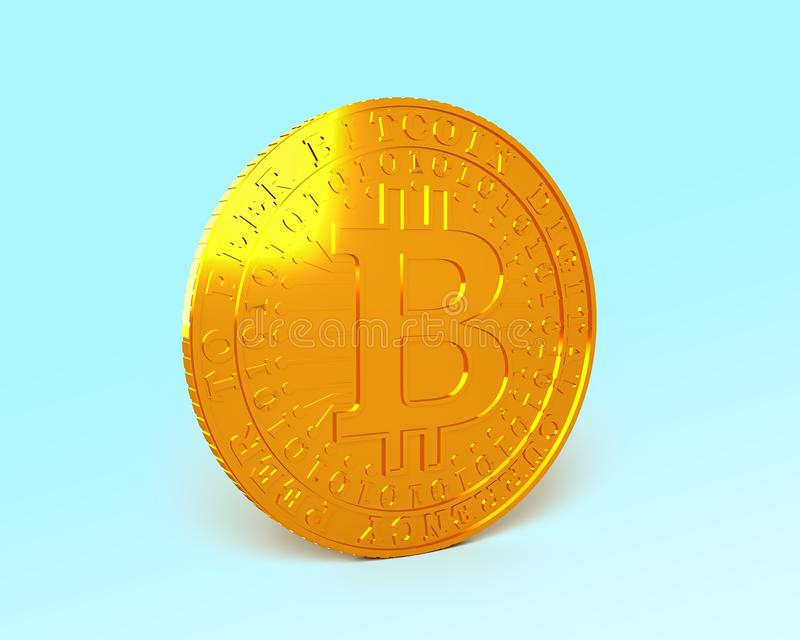Golden Bitcoin, cryptocurrency concept, 3D illustration. One golden Bitcoin standing on light blue background, concept of cryptocurrency, blockchain technology vector illustration