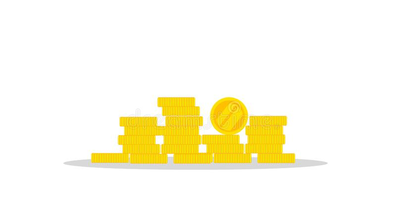 One golden coin standing on stacked gold coins. Modern design isolated on white background stock illustration