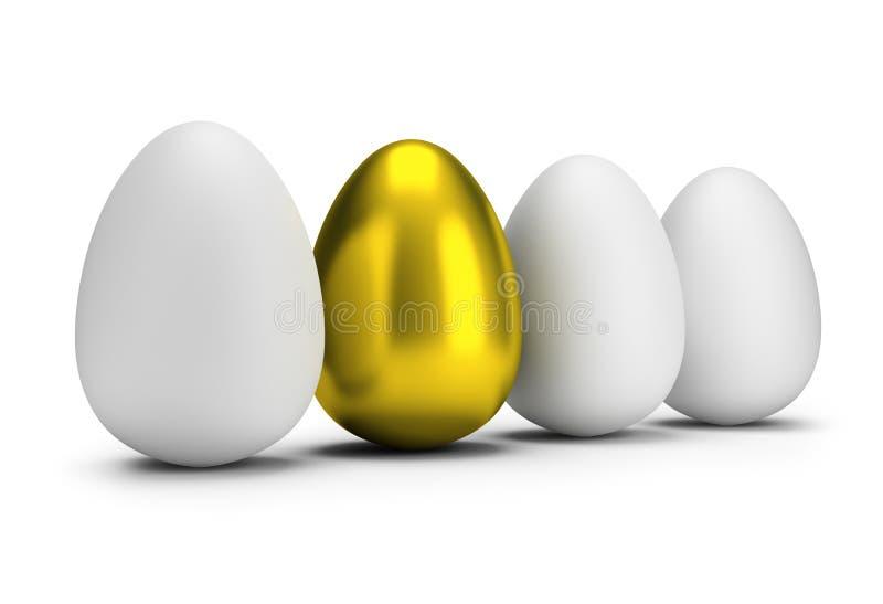 One golden egg. Golden egg among ordinary eggs. 3d image. Isolated white background stock illustration