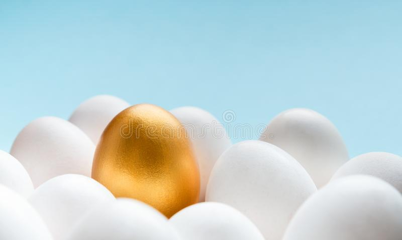 One golden egg among white eggs on gray background. royalty free stock photos