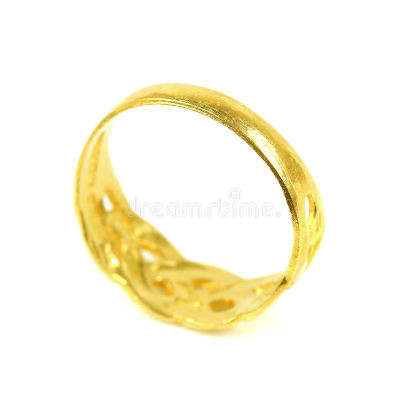 one golden ring isolated on white royalty free stock image