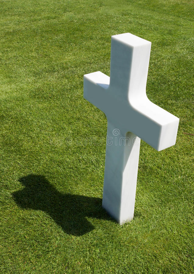 One Grave. Single grave in a row at the American war Cemetery in Normandy, France stock photo