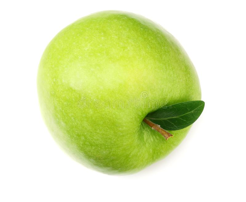 One green apple isolated on white background. top view stock photography
