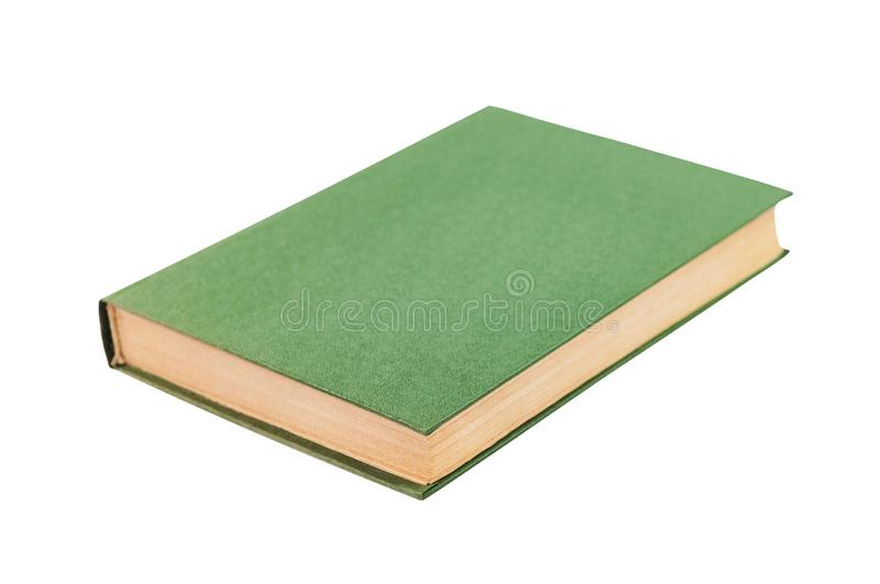 One green color old blank book with hardcover isolated on white. Background royalty free stock photos