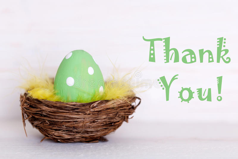 one green easter egg in nest with thank you stock image