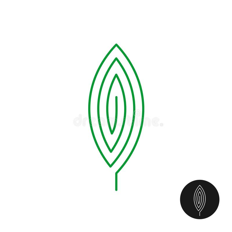 One green leaf linear style logo. royalty free illustration