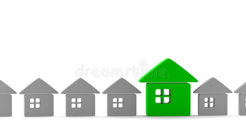One green unique house standing out from the crowd. Isolated on white royalty free illustration