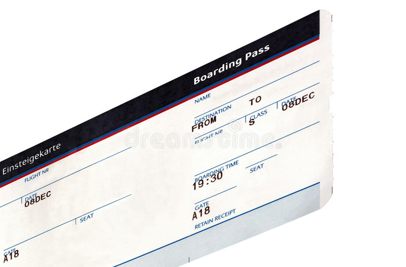 Download One Grungy Air Ticket Isolated, Paper Texture Stock Photo - Image: 12564196
