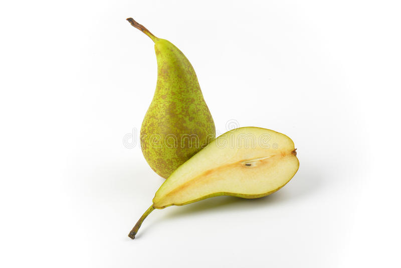 One and a half pears. One whole pear and a half cross section stock images