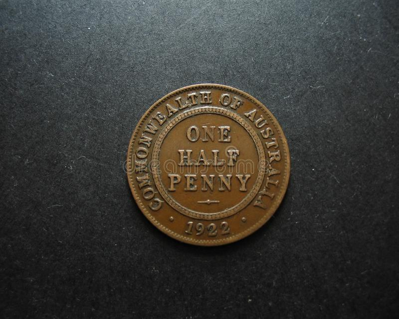 One Half Penny Vintage Australian Coin. Reverse. 1922 Australian One Half Penny Vintage Australian Coin. Reverse side displayed stock photos