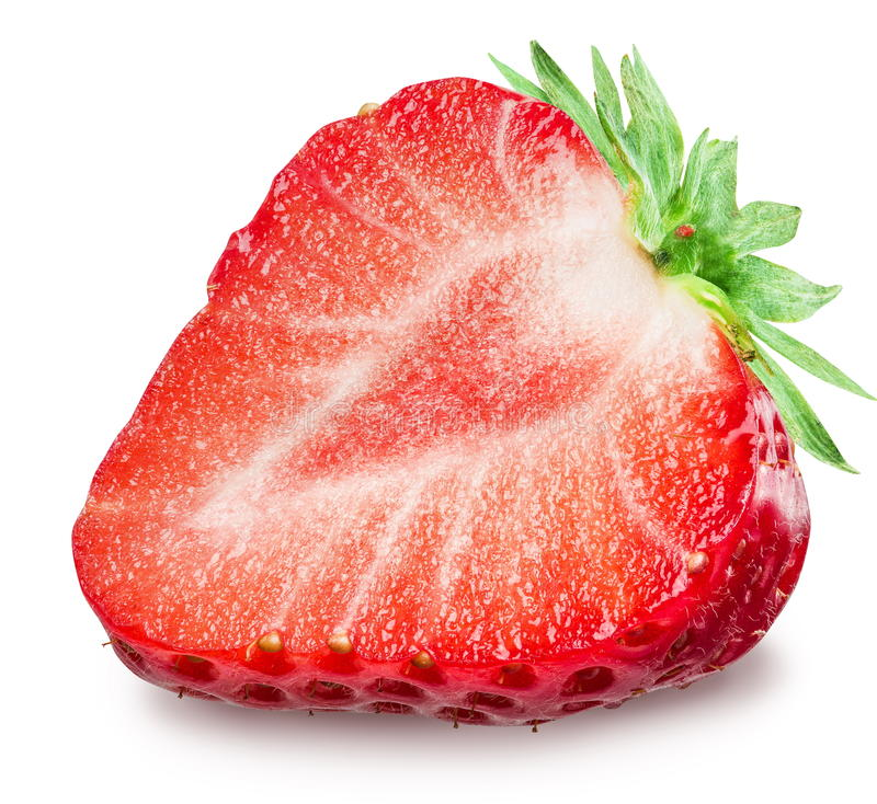 One half of strawberry on the white background. stock images