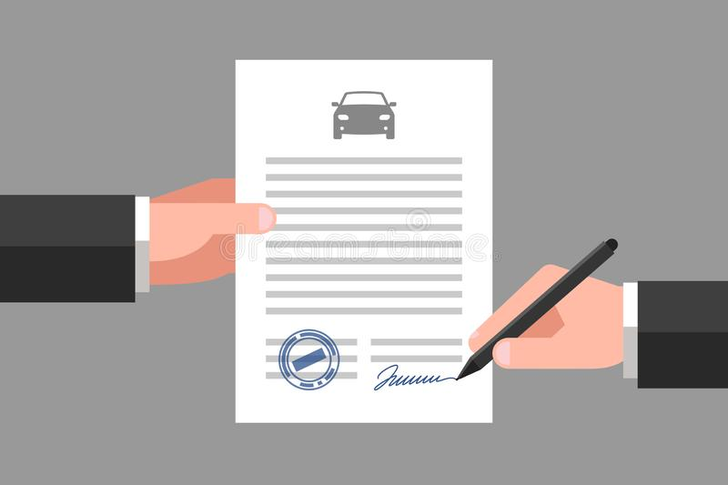 Car business document. One hand is keeping a document, and another hand is keeping a pen. Car icon above the text. Signing of contract. Vehicle business and vector illustration