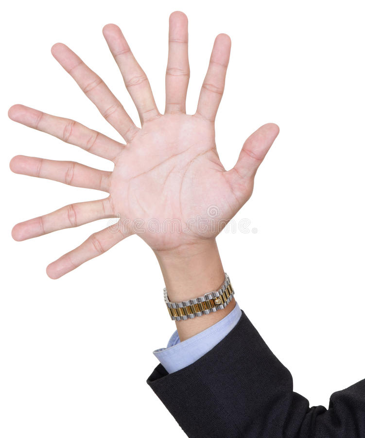 One hand with nine fingers. By adding extra fingers in a surreal surprising way, with arm in business suit. Isolated over white with copy space royalty free stock photography