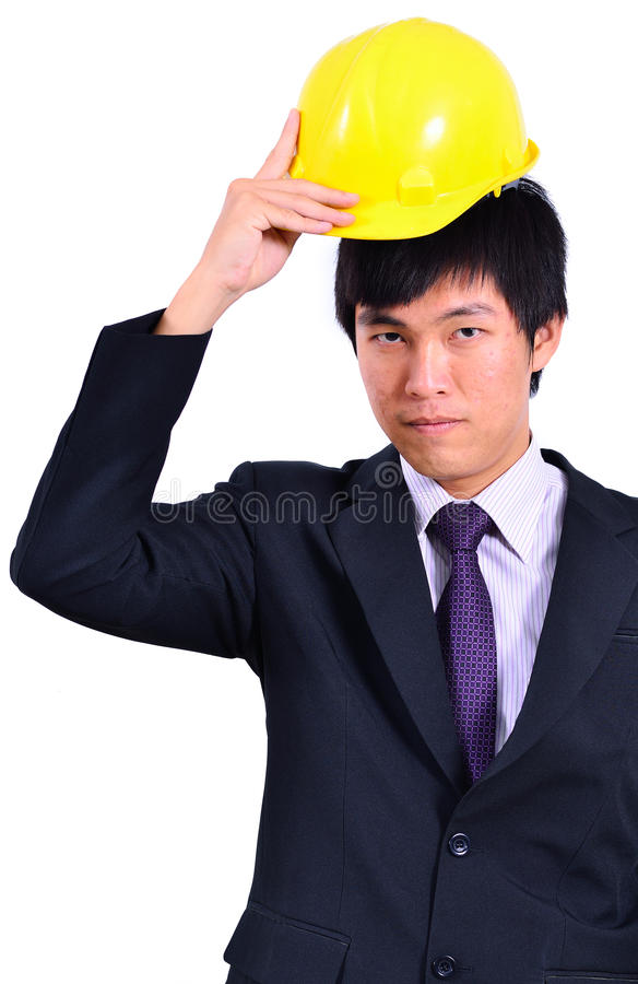 One handsome engineer ready to working. Close up of One handsome engineer ready to working stock photos