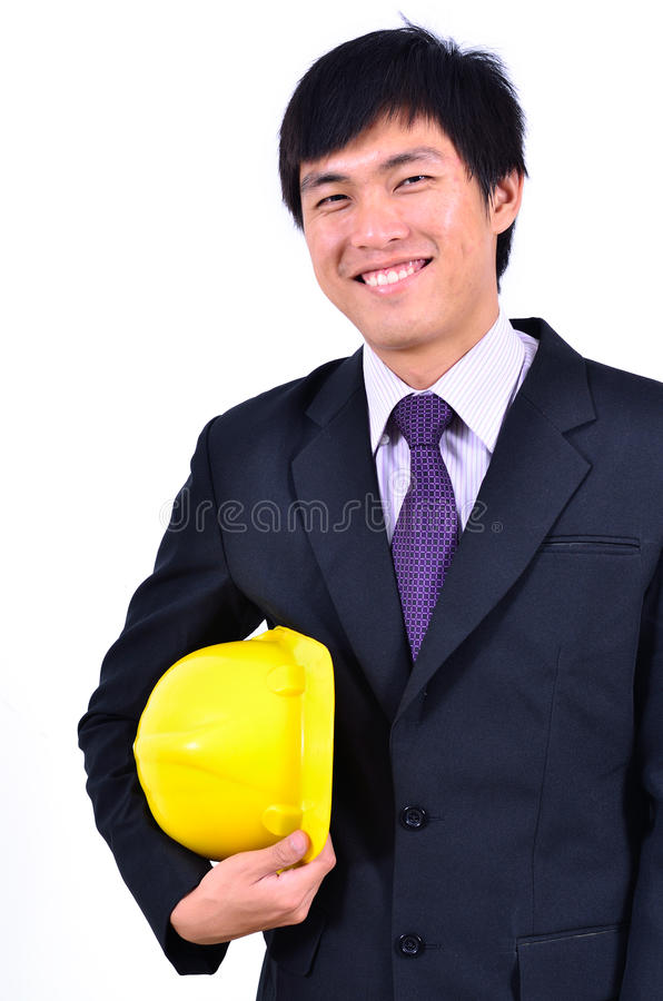 One handsome engineer smiling suits. Close up of One handsome engineer smiling suits royalty free stock photo