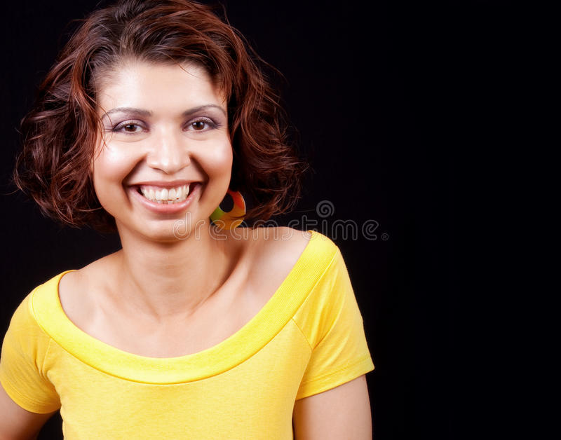 Download One Happy Joyful Woman Isolated On Black Stock Image - Image: 11285421