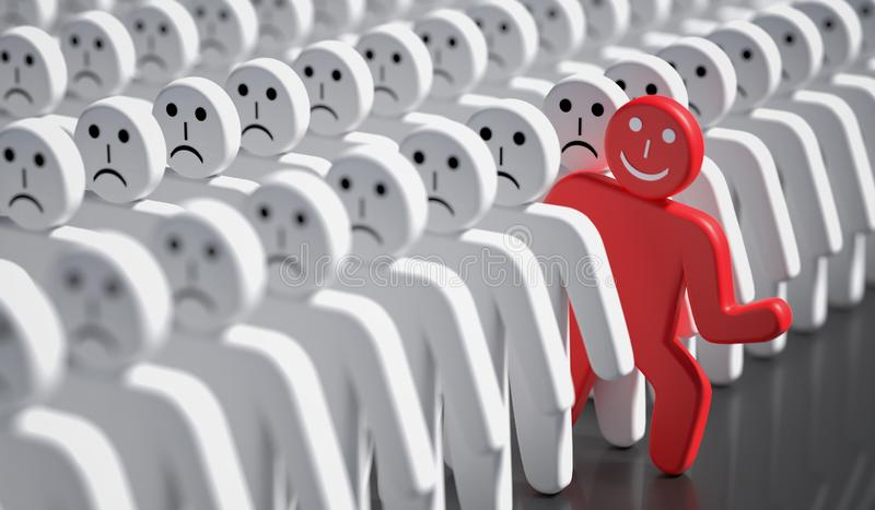 One happy man is out of crowd of many sad people. 3D rendered illustration. One happy man is out of crowd of many sad people. 3D rendered illustration stock illustration