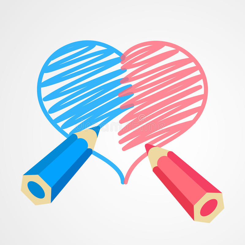 One heart for two person. Blue and pink pencils are drawing together a whole heart. One heart for two person. Harmony in love. Heterosexual couple concept royalty free illustration