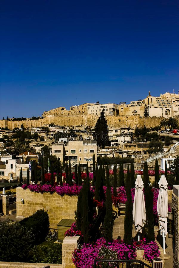 One of the hills of Jerusam Looking toward the old city stock image