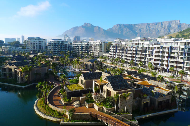 One and only hotel and view of Table mountain in Cape Town, South Africa royalty free stock photos