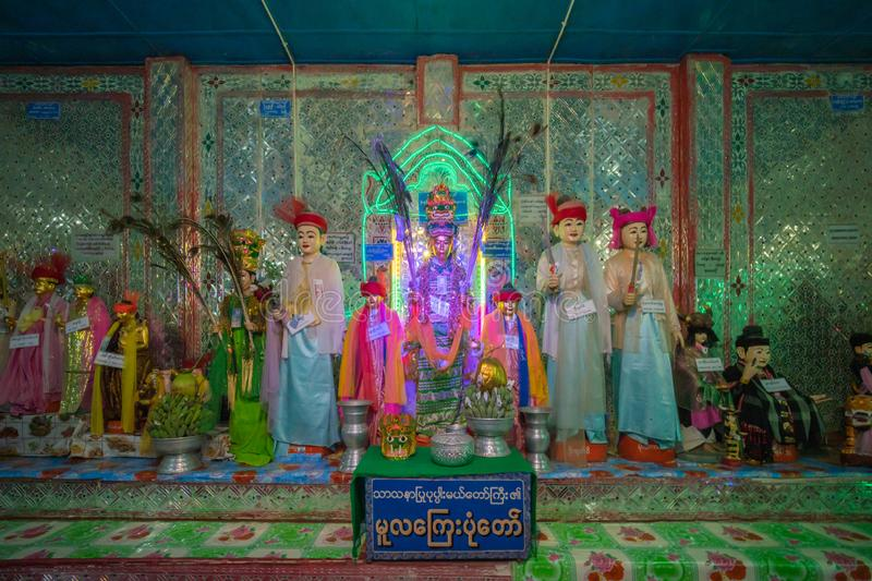 One of house of famous nat at temple on top of mount POPA in Mandalay Myanmar. Mandalay, Myanmar, May , 2019 - one of house of famous nat at temple on top of royalty free stock photography