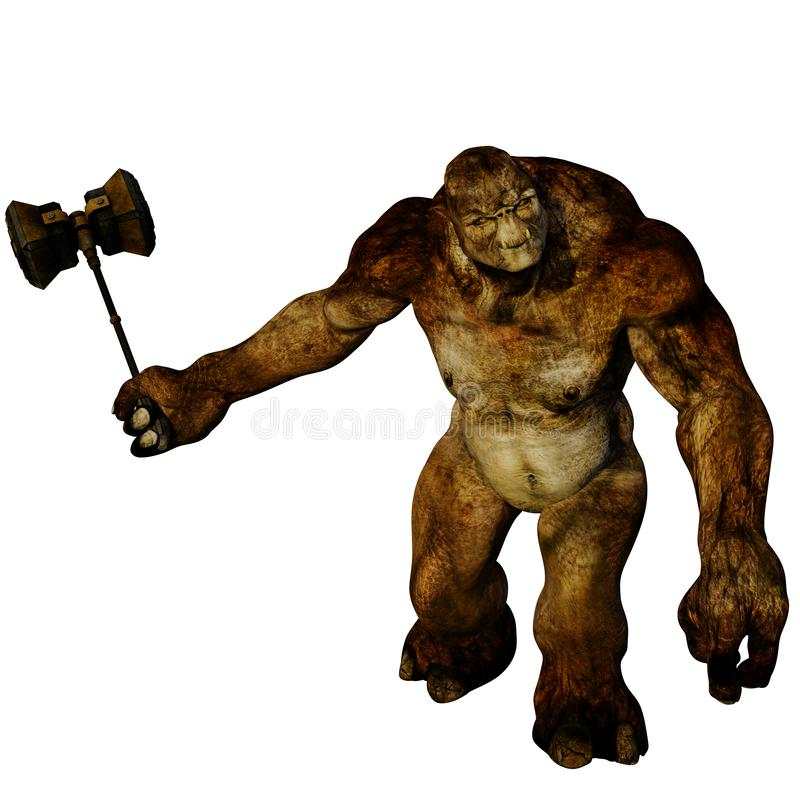 One huge and muscular evil brown troll stock illustration