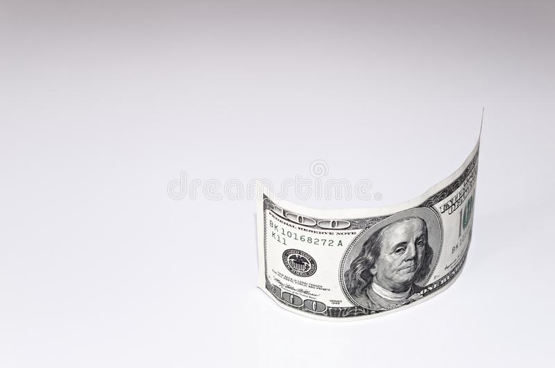 One hundred american dollar banknote on white background. Close-up photo of one hundred american dollar banknote on white background royalty free stock photo