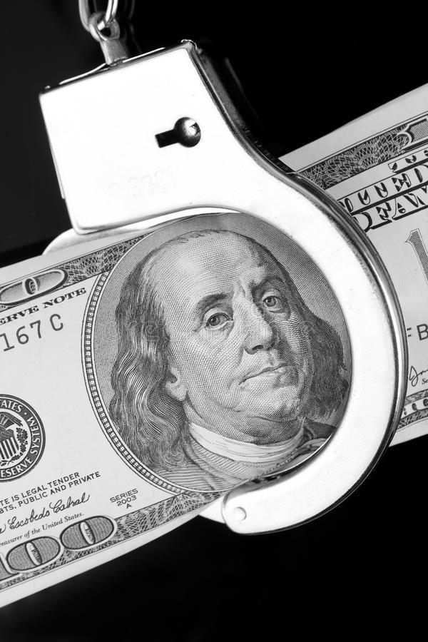 Download One Hundred Dollar Banknote In Handcuffs Stock Photo - Image: 18322628