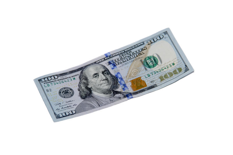 One hundred dollar bill isolated on white background royalty free stock photography