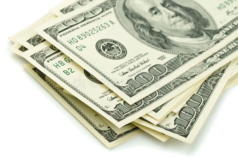 One hundred dollar bills stock image