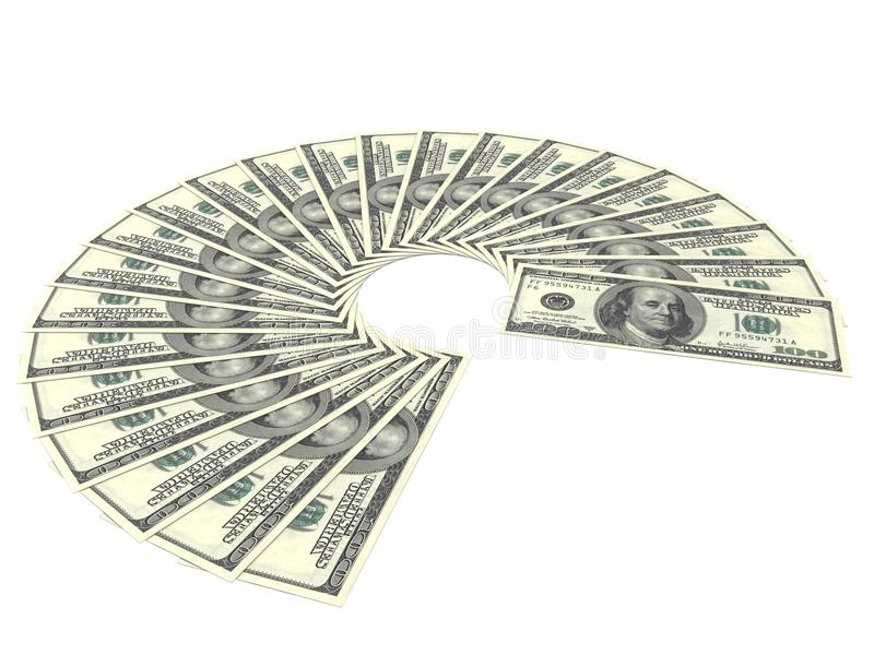 One Hundred Dollar Bills Fan On White Background royalty free illustration