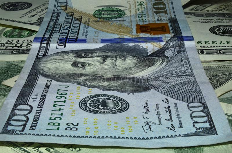 One hundred dollar denomination macro stock images