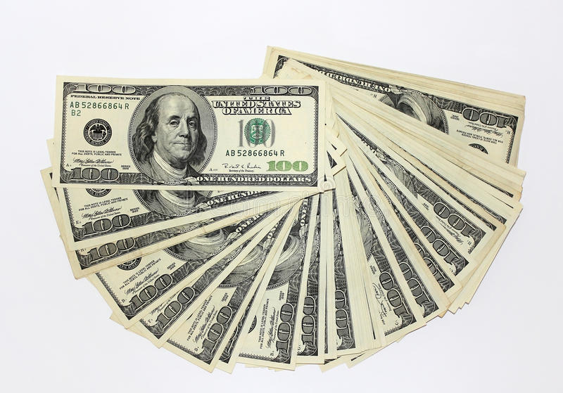 One hundred dollar notes stock images