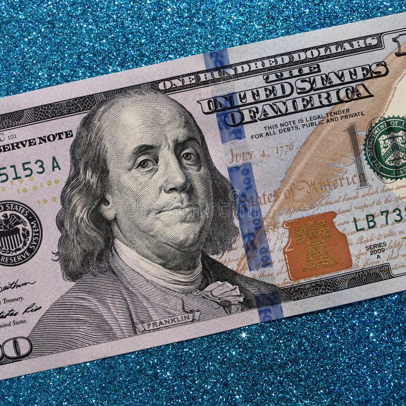 One hundred dollars - 100 Dollar Bill Stock Photos. One hundred dollars - 100 Dollar Bill - American federal reserve note with Franklin on turquoise holiday royalty free stock images