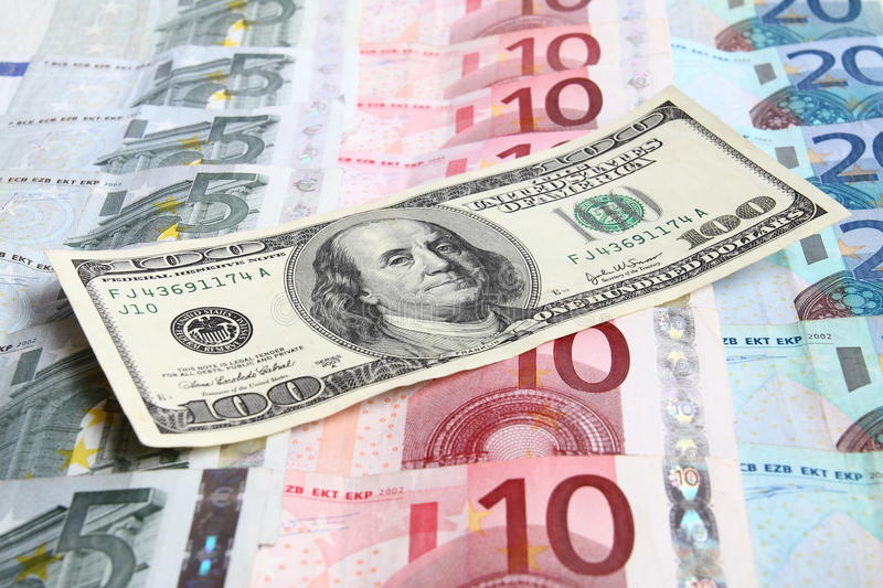 Download One Hundred Dollars Against The Euro Money Stock Photo - Image: 22635648