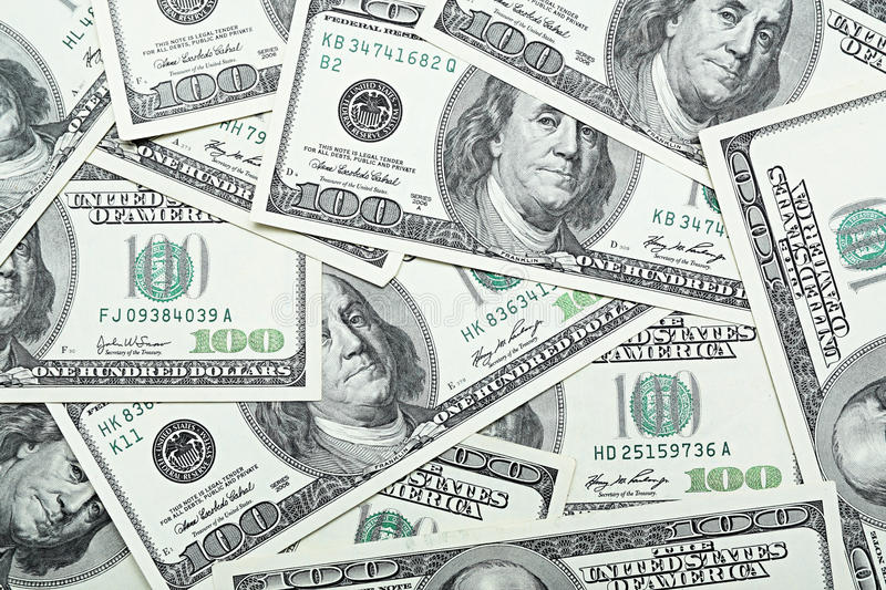 One hundred dollars. Background from one hundred dollars royalty free stock photo