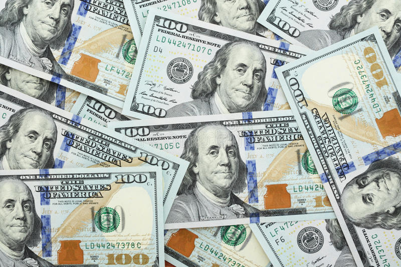 One hundred dollars. Background from recent one hundred dollars royalty free stock photo