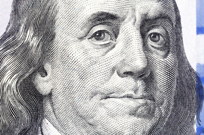 One Hundred Dollars. Benjamin Franklin portrait. USD, The United. States currency royalty free stock photography
